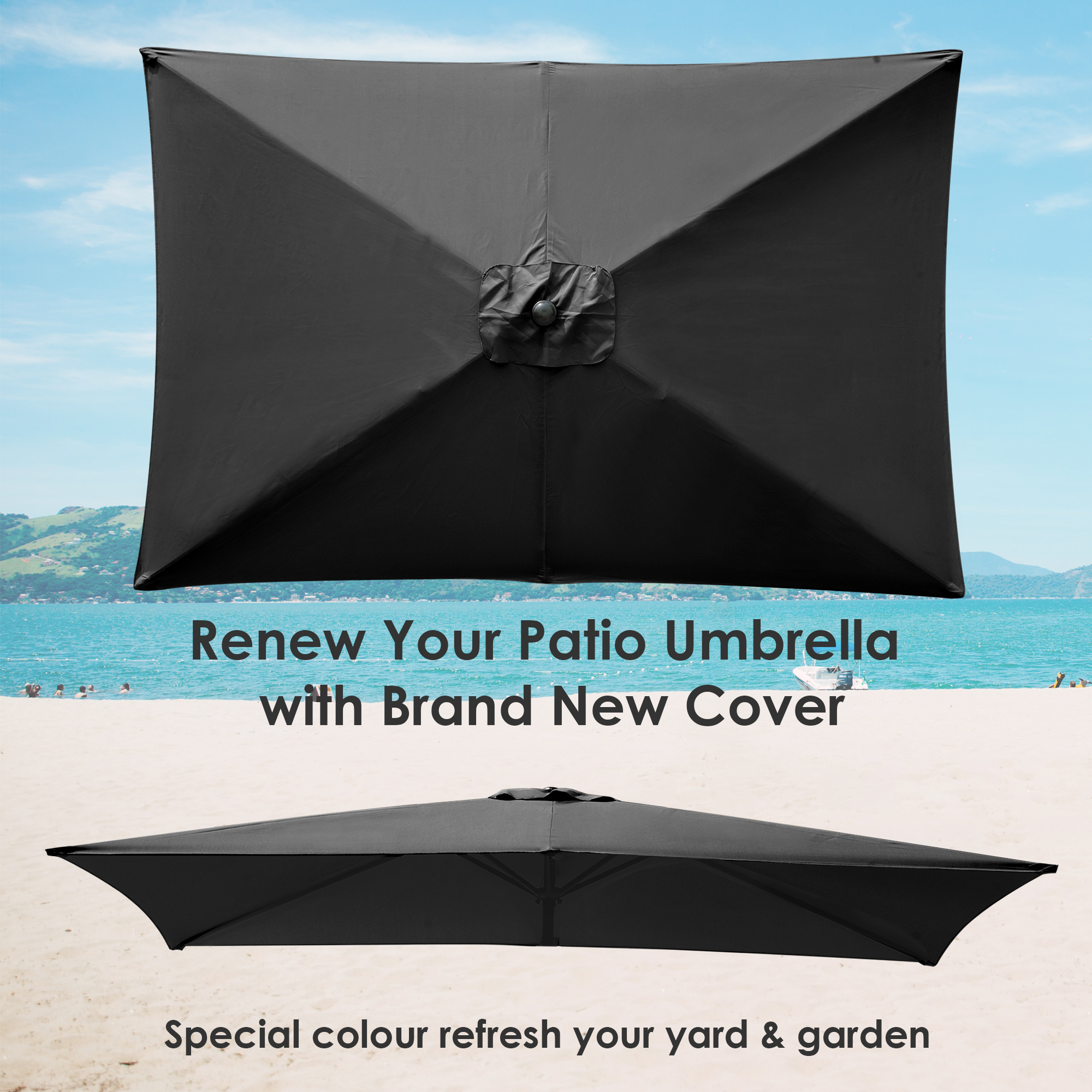 thumbnail 139 - 8'/9'/10'/13' Umbrella Replacement Canopy 8 Rib Outdoor Patio Top Cover Only Opt