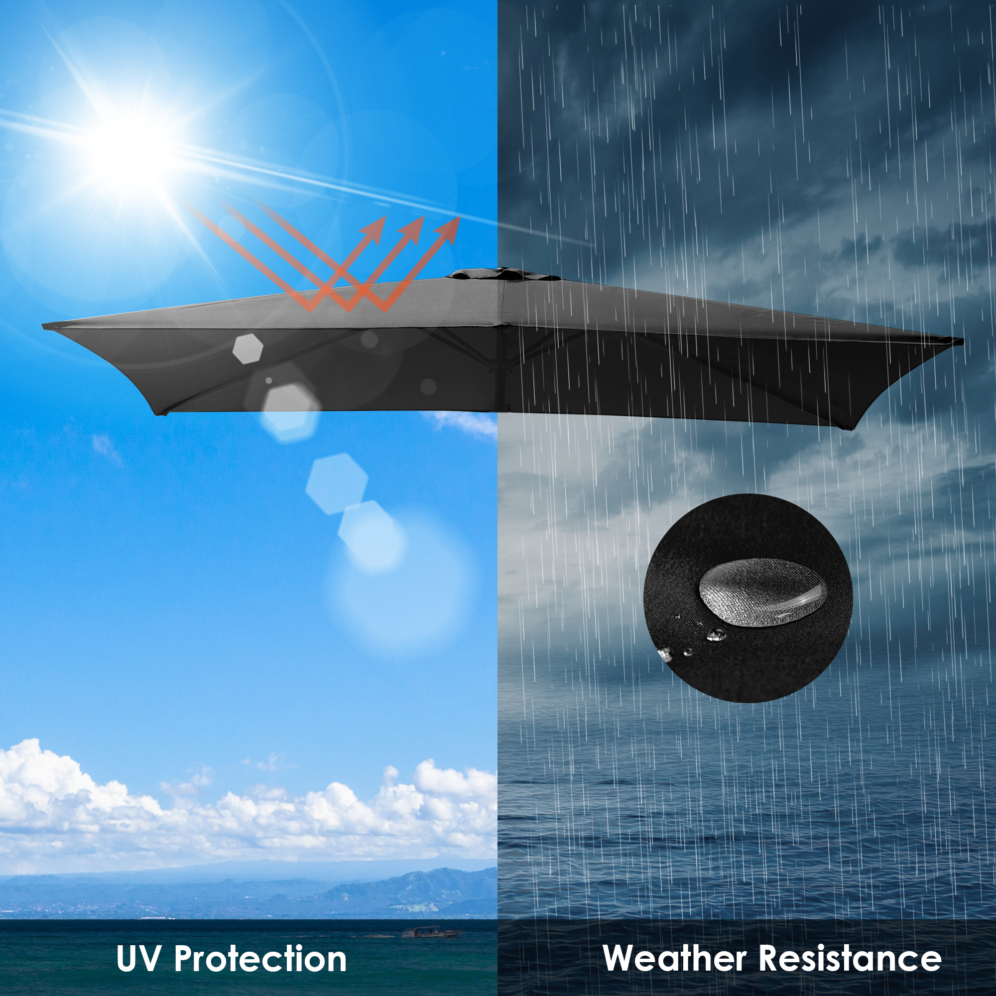 thumbnail 140 - 8'/9'/10'/13' Umbrella Replacement Canopy 8 Rib Outdoor Patio Top Cover Only Opt