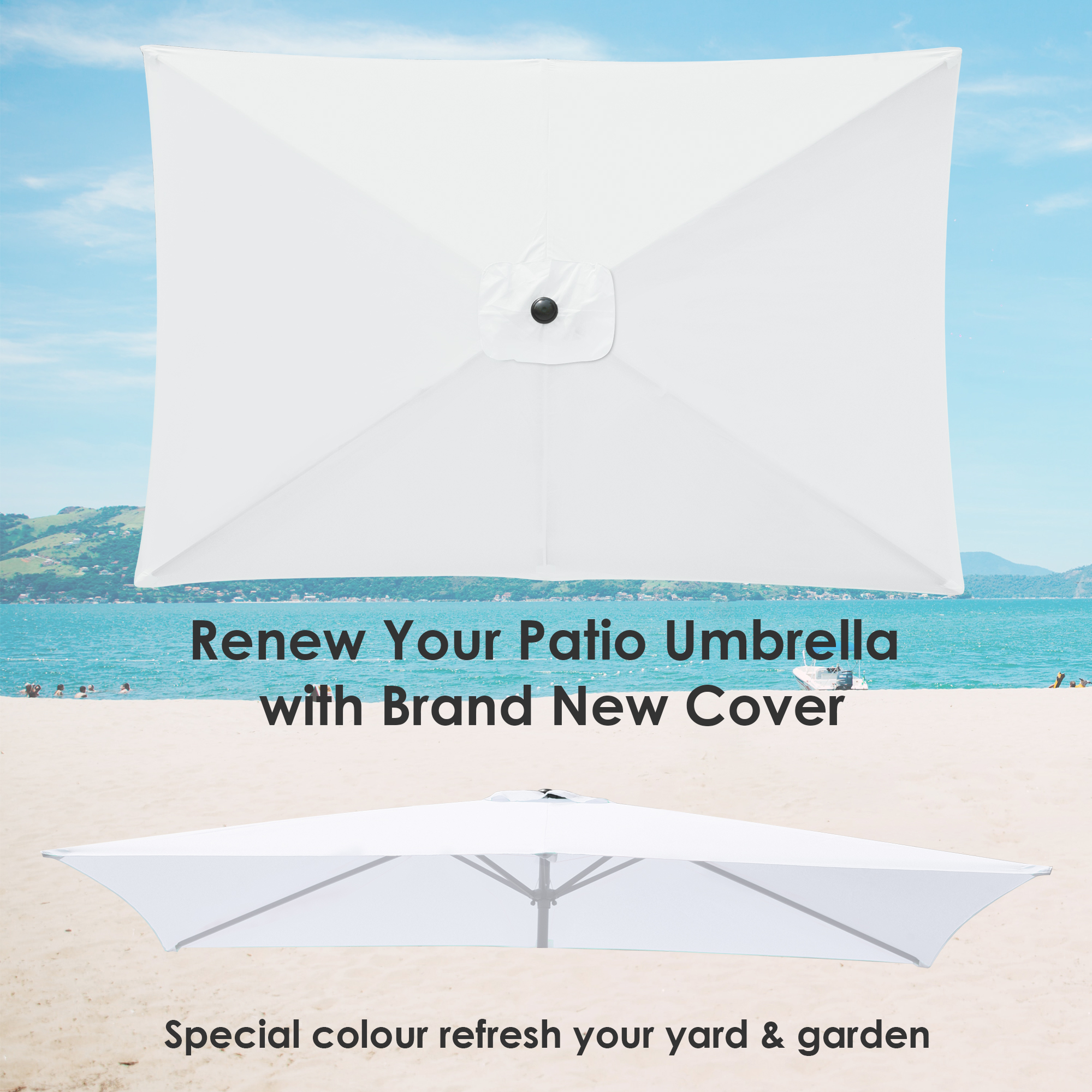 thumbnail 278 - 8'/9'/10'/13' Umbrella Replacement Canopy 8 Rib Outdoor Patio Top Cover Only Opt
