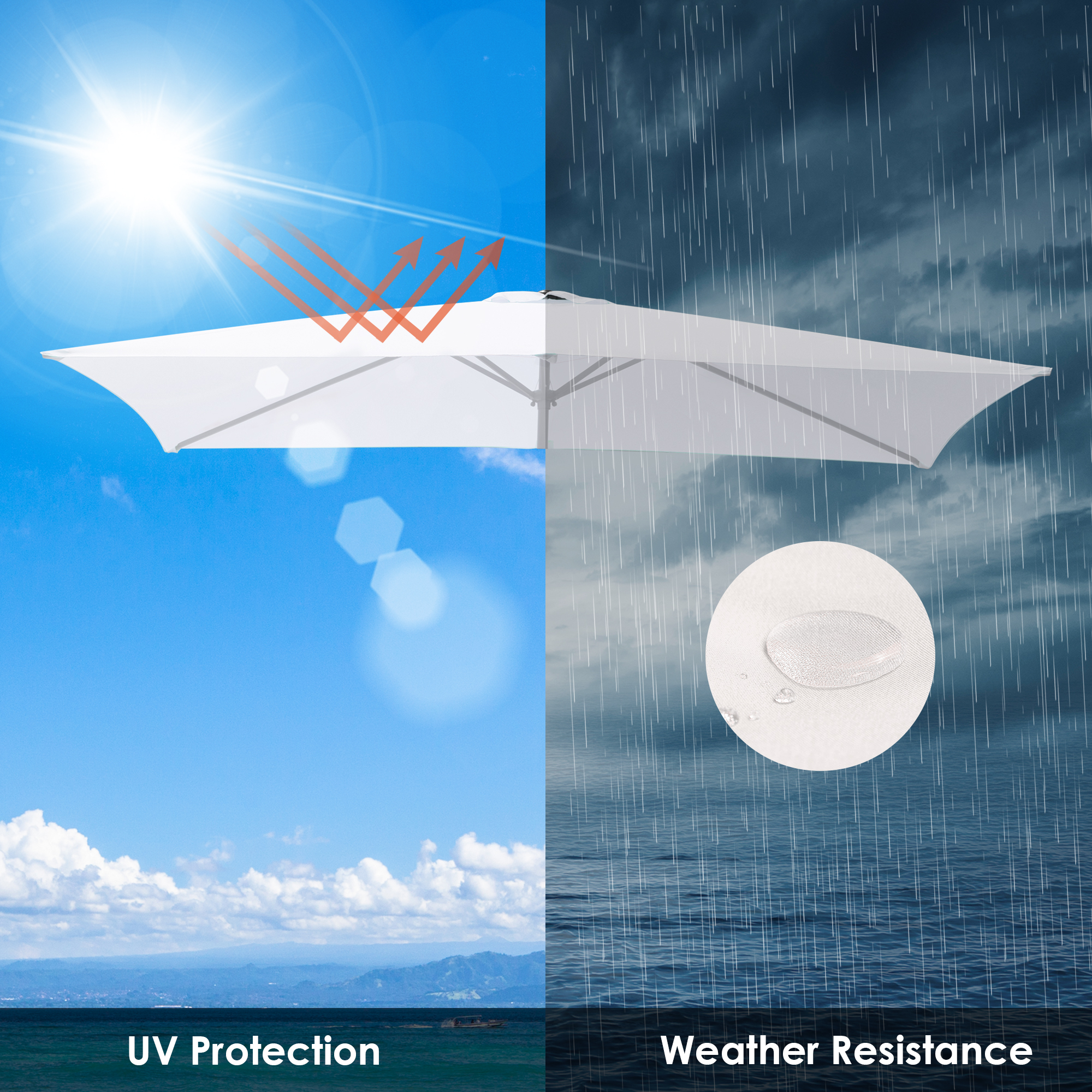 thumbnail 279 - 8'/9'/10'/13' Umbrella Replacement Canopy 8 Rib Outdoor Patio Top Cover Only Opt