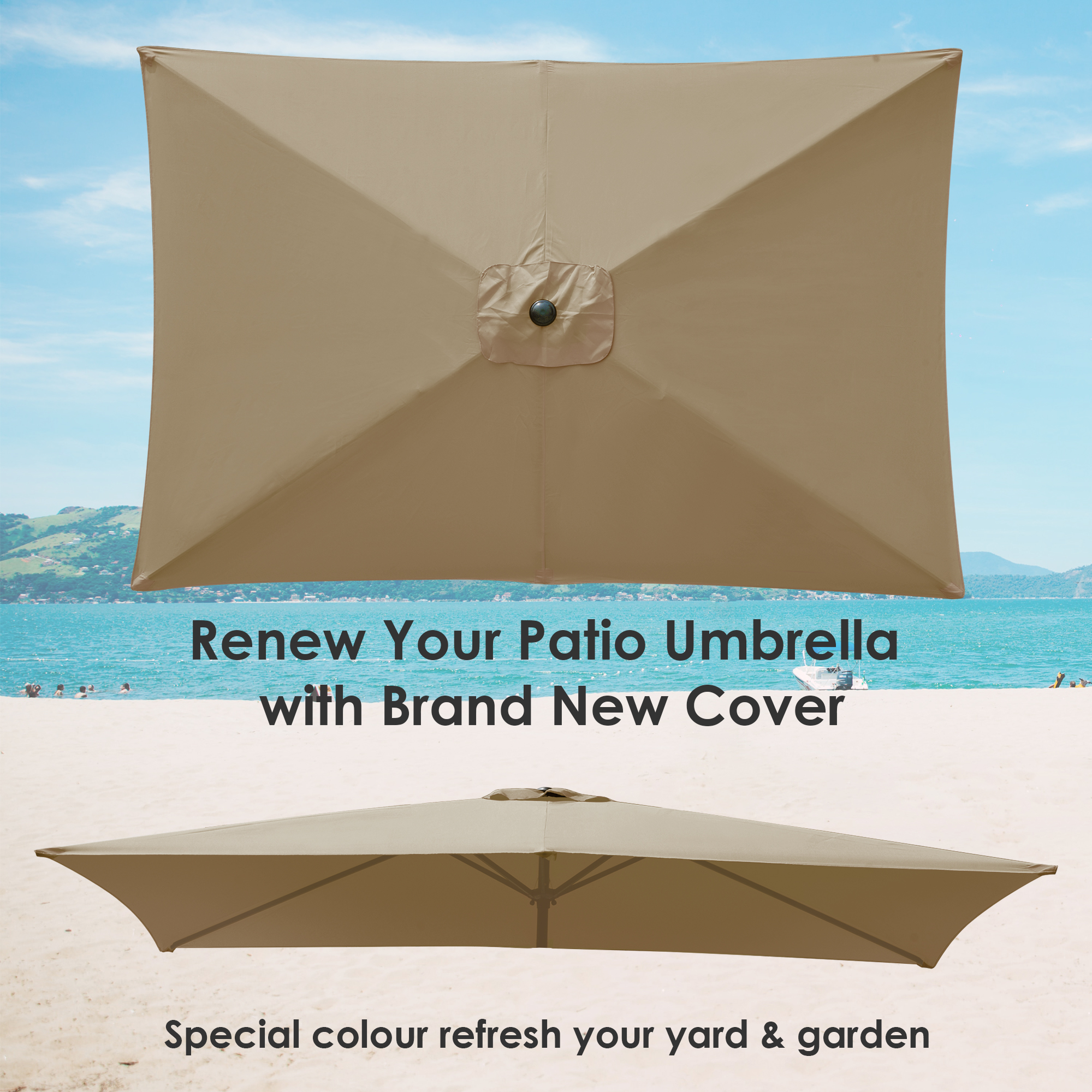 thumbnail 183 - 8'/9'/10'/13' Umbrella Replacement Canopy 8 Rib Outdoor Patio Top Cover Only Opt
