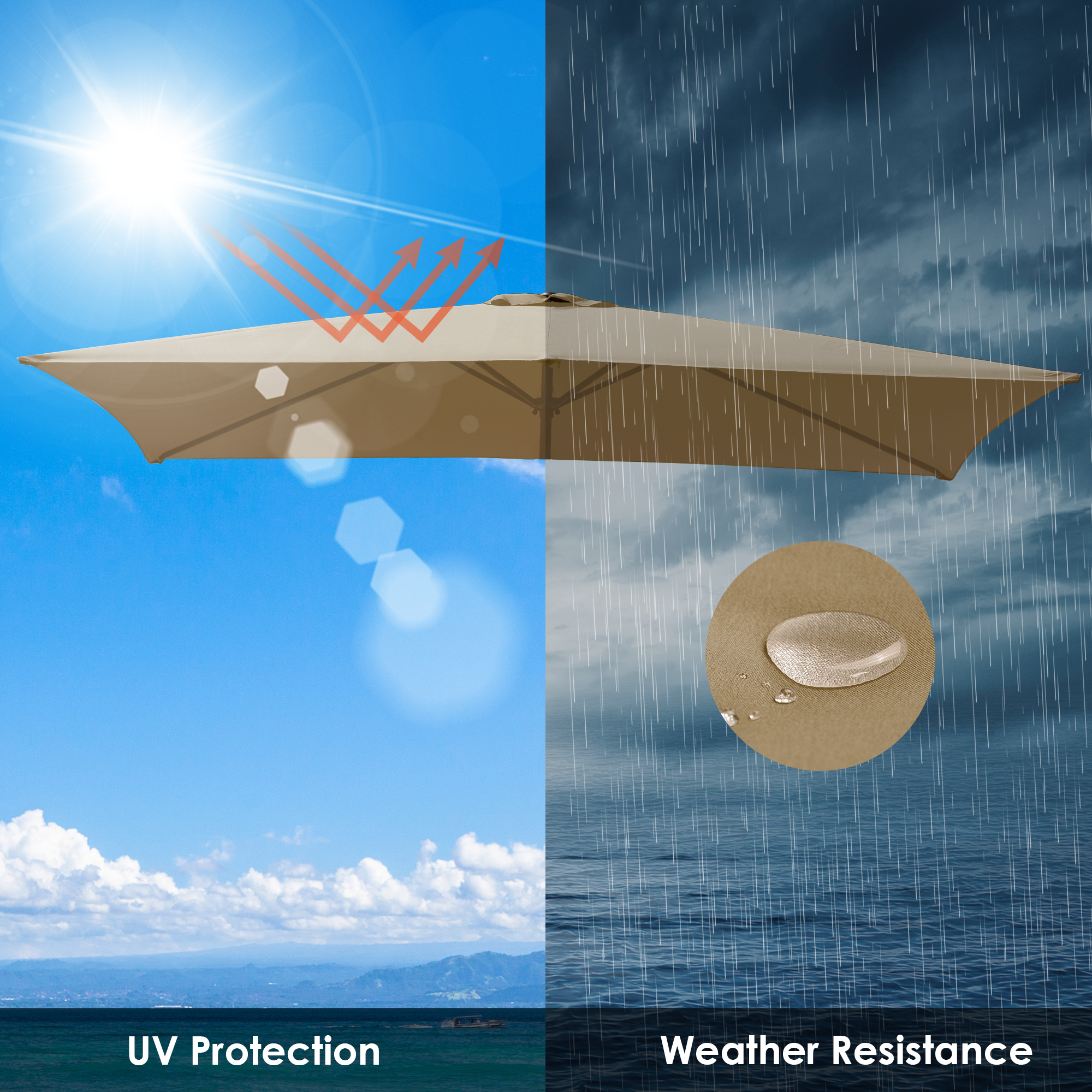 thumbnail 184 - 8'/9'/10'/13' Umbrella Replacement Canopy 8 Rib Outdoor Patio Top Cover Only Opt