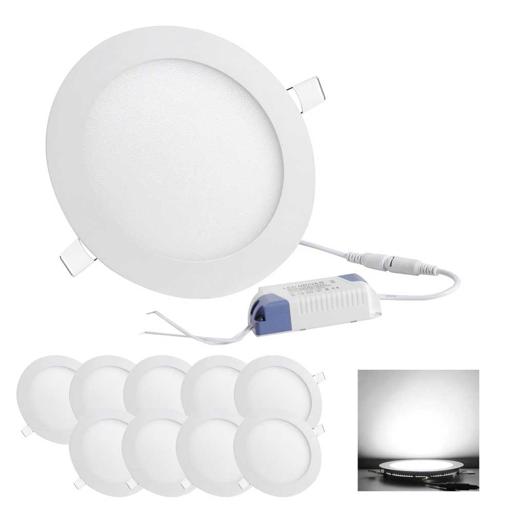 10 pcs 12w round recessed led panel light ceiling down lights 640671047081 mozeypictures Images