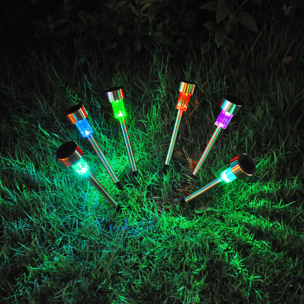 12PCS Garden Outdoor Stainless Steel LED Solar Landscape Path Lights Yard Lamp  eBay