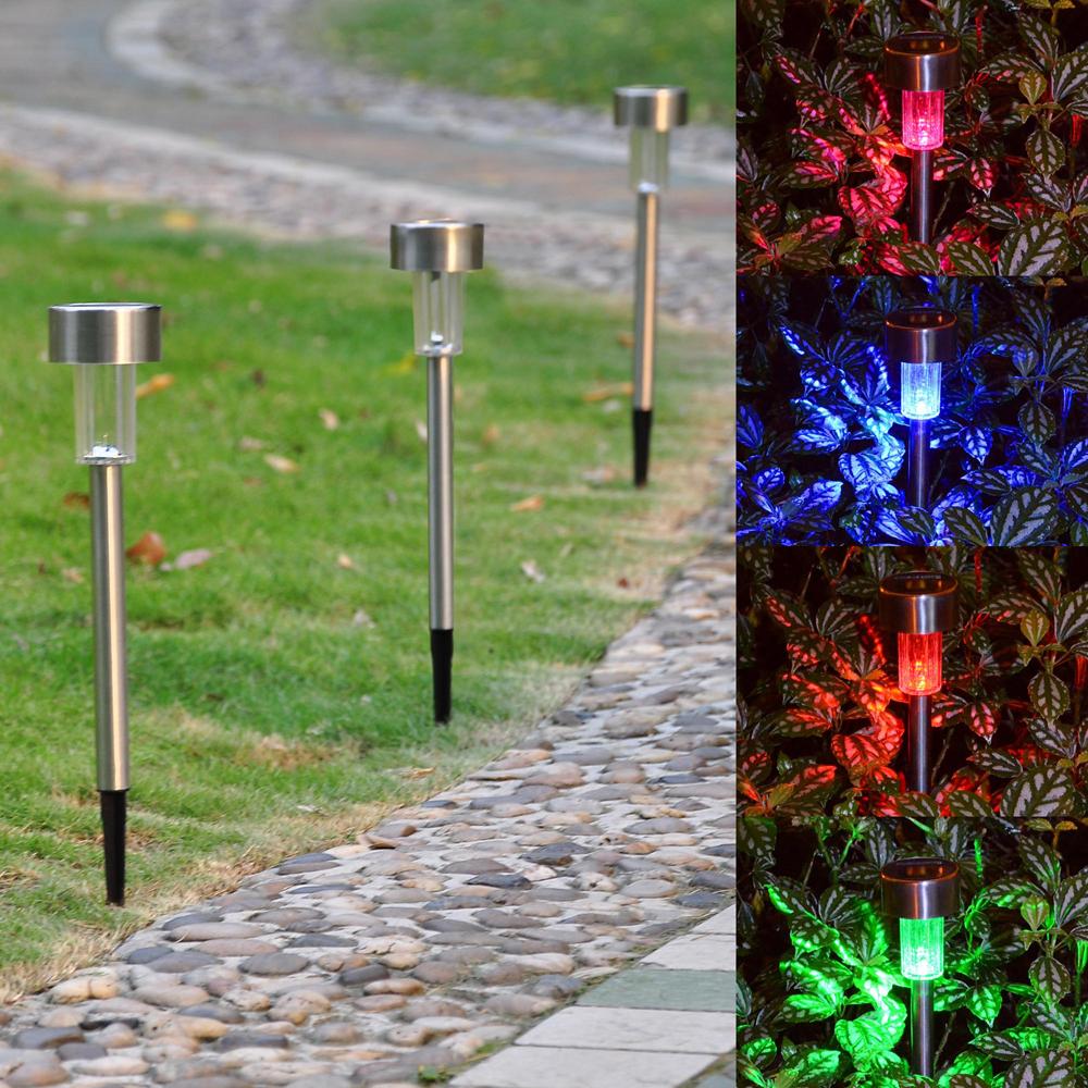 12PCS Garden Outdoor Stainless Steel LED Solar Landscape