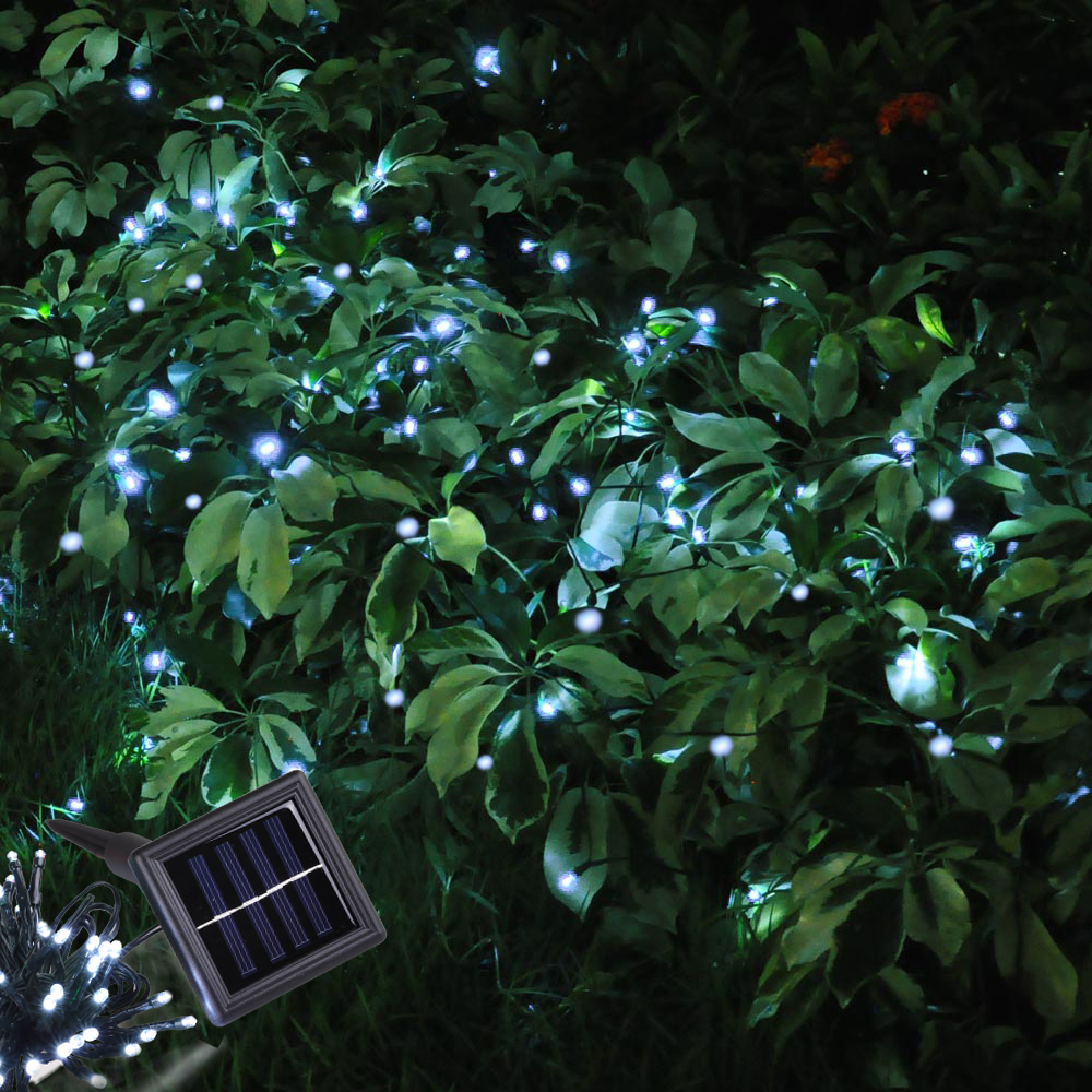100 led solar fairy string light outdoor party garden lawn waterproof decor lamp. Black Bedroom Furniture Sets. Home Design Ideas
