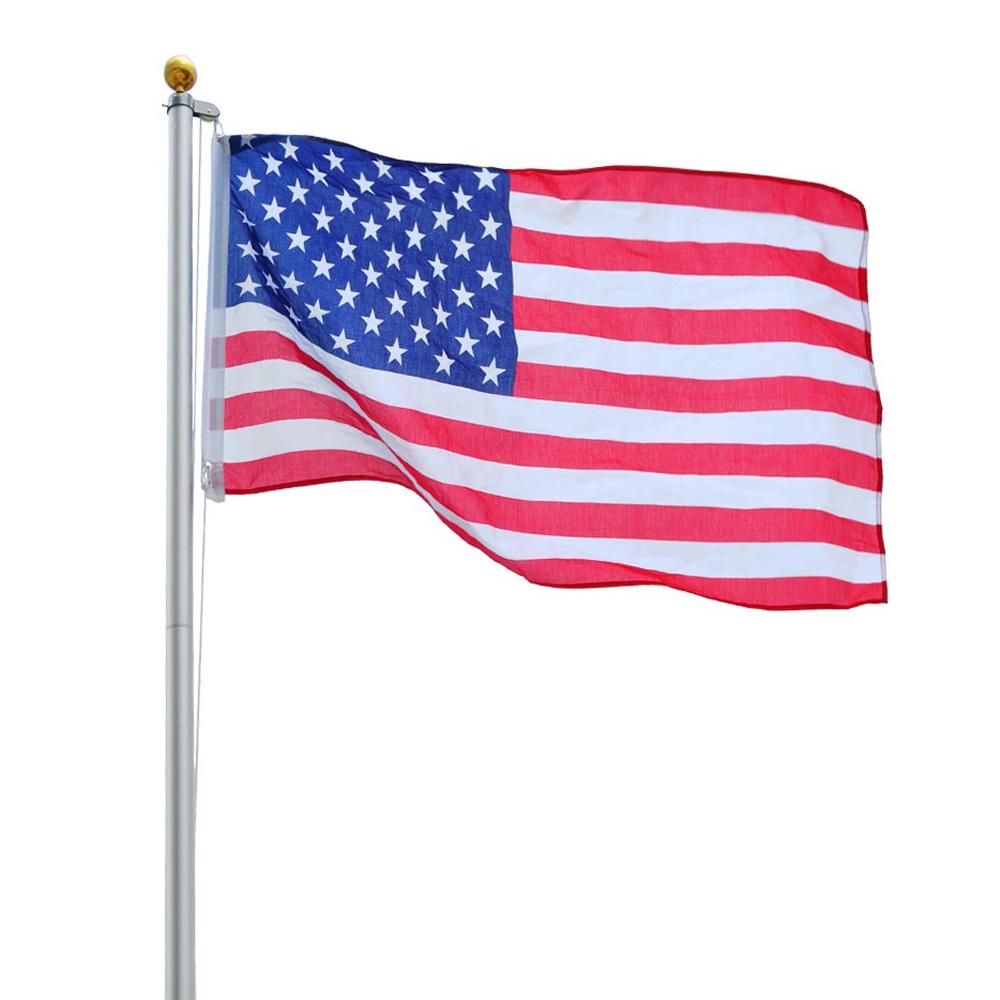 20Ft Sectional Flag Pole Kit 3'x5' US Flag+Aluminum Pole ...