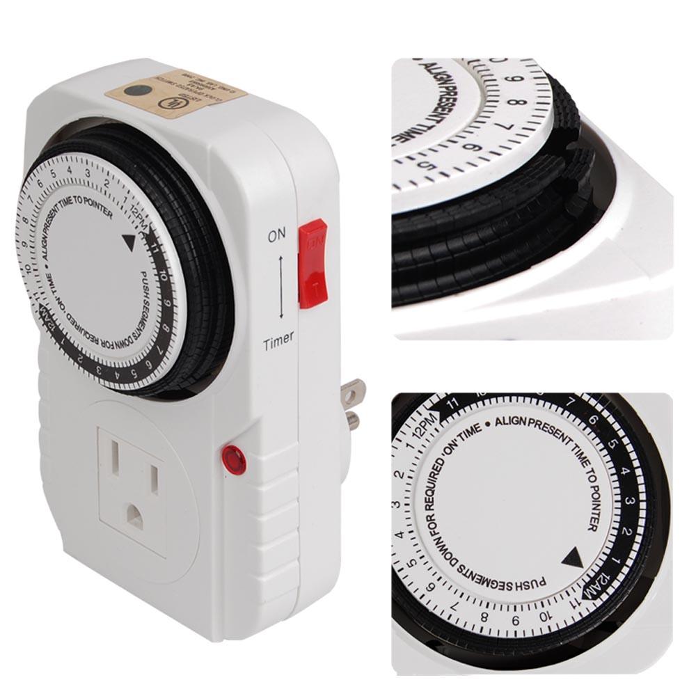 120V Timer Control 24hr Hydroponics Outlet Decorative Grow L