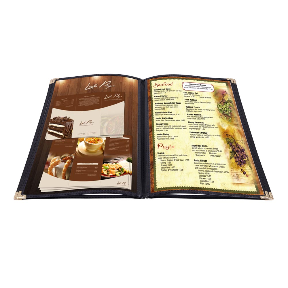 non toxic menu covers cafe restaurant club diy fold book style 8 5