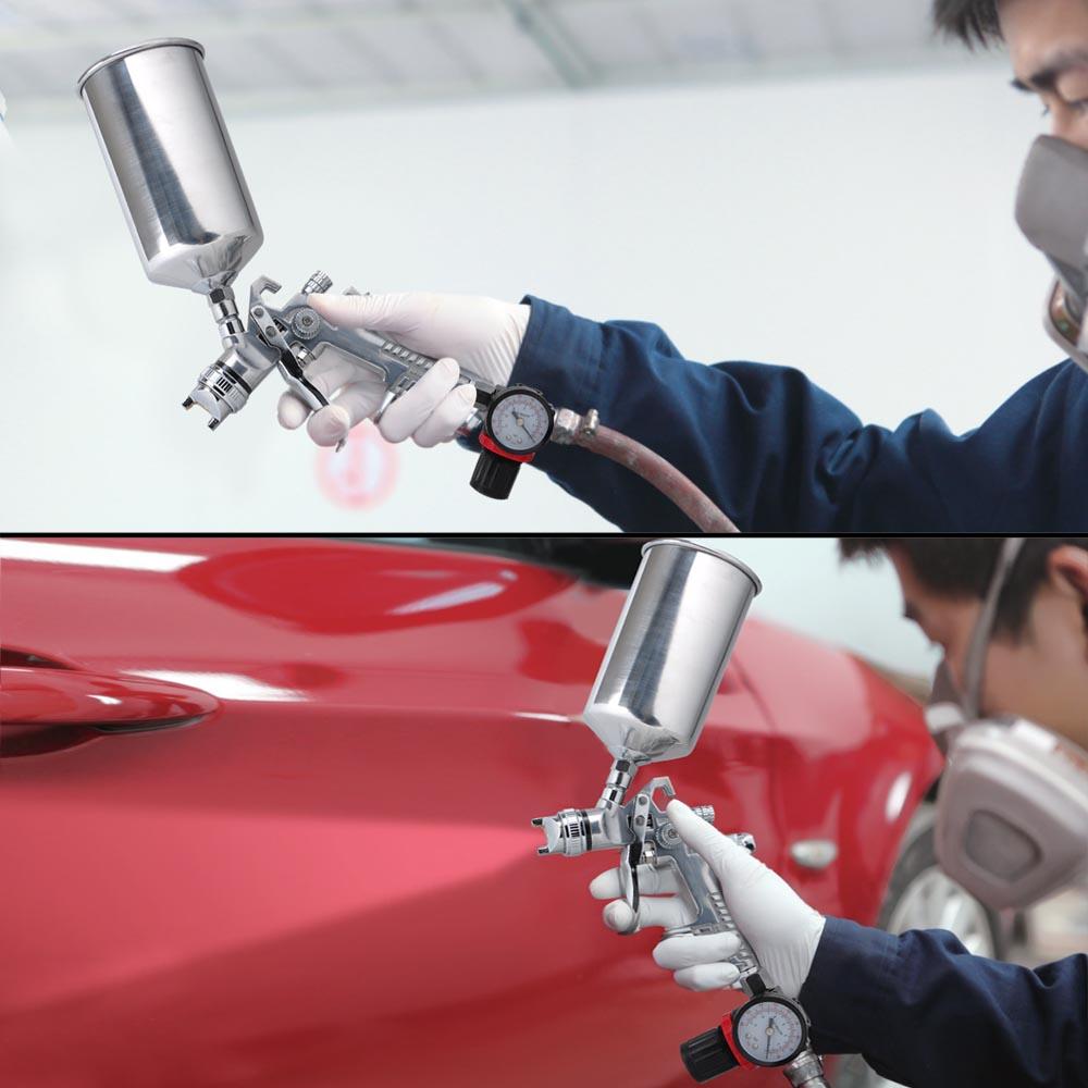 Hvlp Spray Gun Kit >> 6pc 1.3 1.8 HVLP Air Spray Gun Kit Auto Paint Primer Basecoat Clearcoat Gravity 640671042246 | eBay