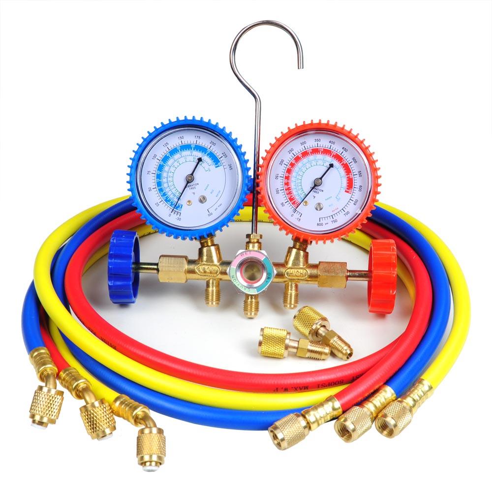 r410a r22 manifold gauge set ac a/c 5ft color hose air conditioner