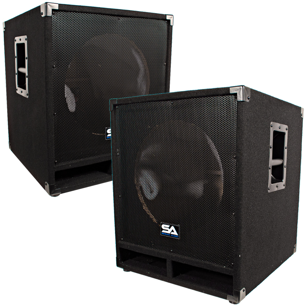 seismic audio pair of empty 15 inch pro audio subwoofer pa cabinets band dj ebay. Black Bedroom Furniture Sets. Home Design Ideas
