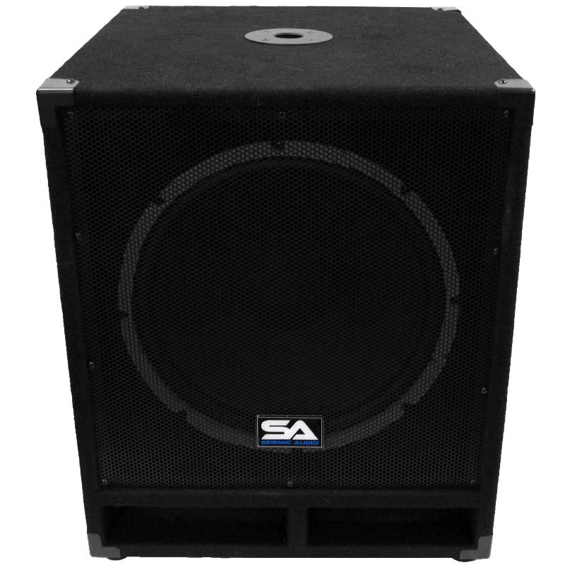 seismic audio powered 15 subwoofer cabinet pa dj pro band speaker active sub. Black Bedroom Furniture Sets. Home Design Ideas