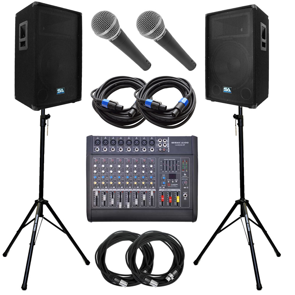 seismic audio power mixer pa dj 15 speakers stands cable package active ebay. Black Bedroom Furniture Sets. Home Design Ideas