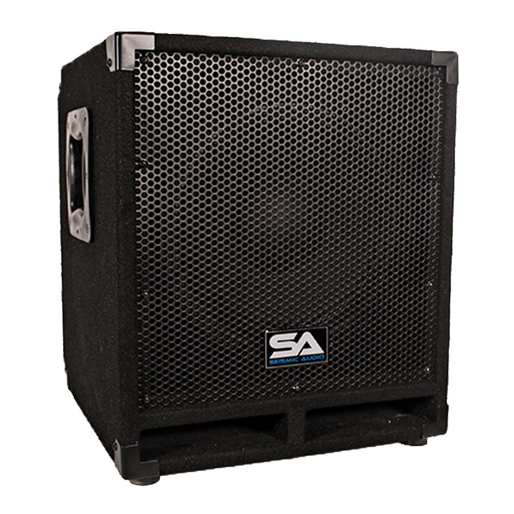 seismic audio powered 12 pro audio subwoofer cabinet pa band dj kj ebay. Black Bedroom Furniture Sets. Home Design Ideas