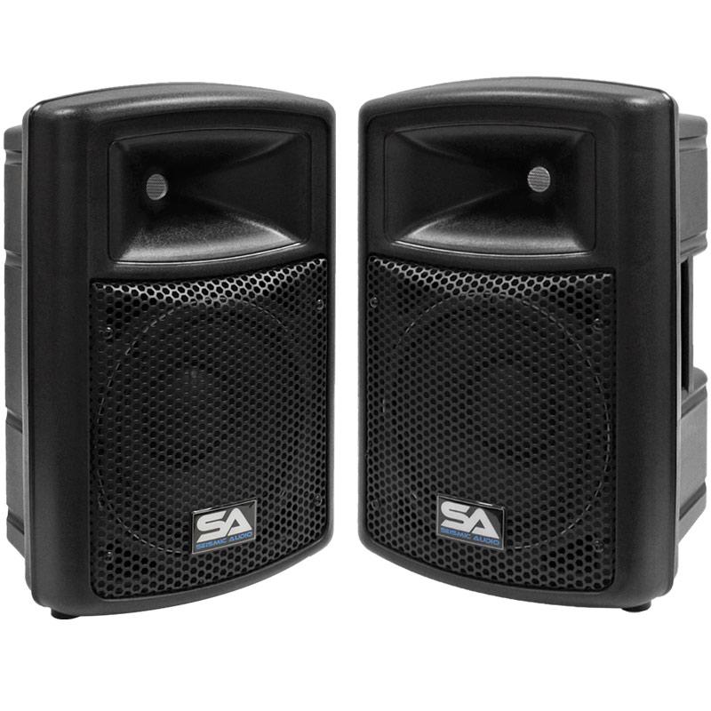 2 new seismic audio 10 powered pa dj speakers active ebay. Black Bedroom Furniture Sets. Home Design Ideas