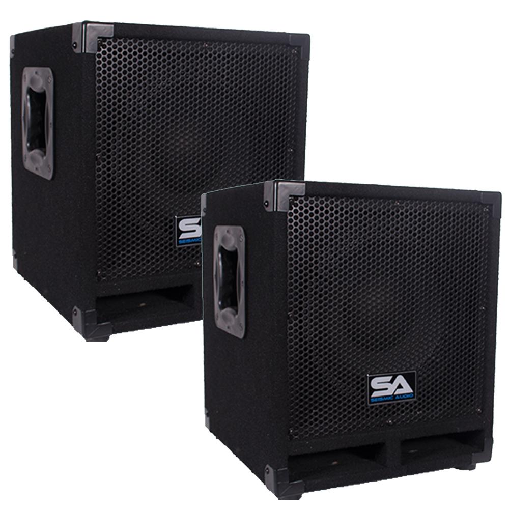 pair of powered 10 pro audio subwoofer cabinets pa dj pro audio band subwoofer ebay. Black Bedroom Furniture Sets. Home Design Ideas