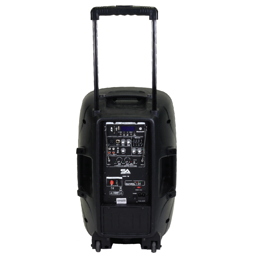 seismic audio powered 12 pa speaker rechargeable with 2 mics remote bluetooth ebay. Black Bedroom Furniture Sets. Home Design Ideas