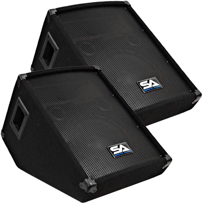 seismic audio pair 10 pa floor stage speaker monitor cabs new wedge ebay. Black Bedroom Furniture Sets. Home Design Ideas
