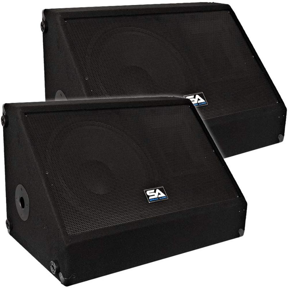 seismic audio pair 12 floor stage monitors speakers new 500 watts ebay. Black Bedroom Furniture Sets. Home Design Ideas