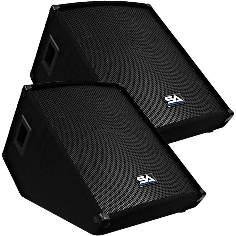 seismic audio pair 15 floor monitors stage studio pa dj speakers. Black Bedroom Furniture Sets. Home Design Ideas