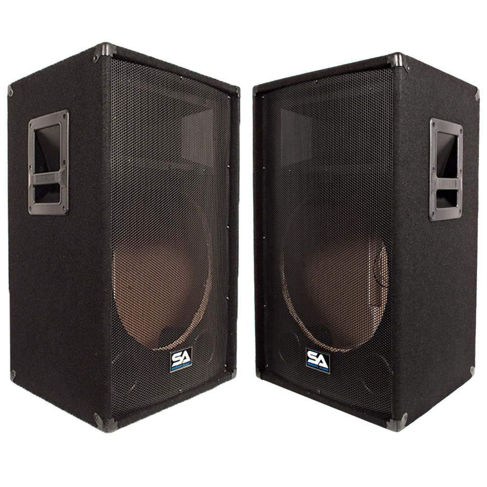 seismic audio two empty 15 inch pa dj speaker cabinet. Black Bedroom Furniture Sets. Home Design Ideas