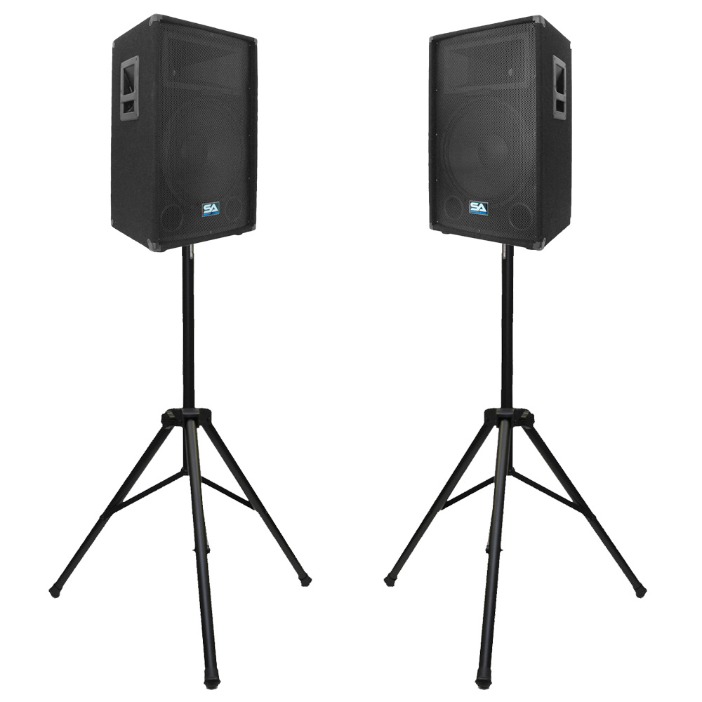 seismic audio pair 15 inch pa dj speakers w 2 tripod speaker stands ebay. Black Bedroom Furniture Sets. Home Design Ideas