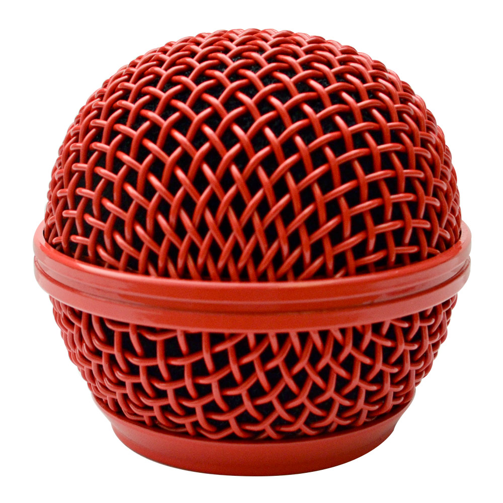 replacement red steel mesh microphone grill head fits shure sm58