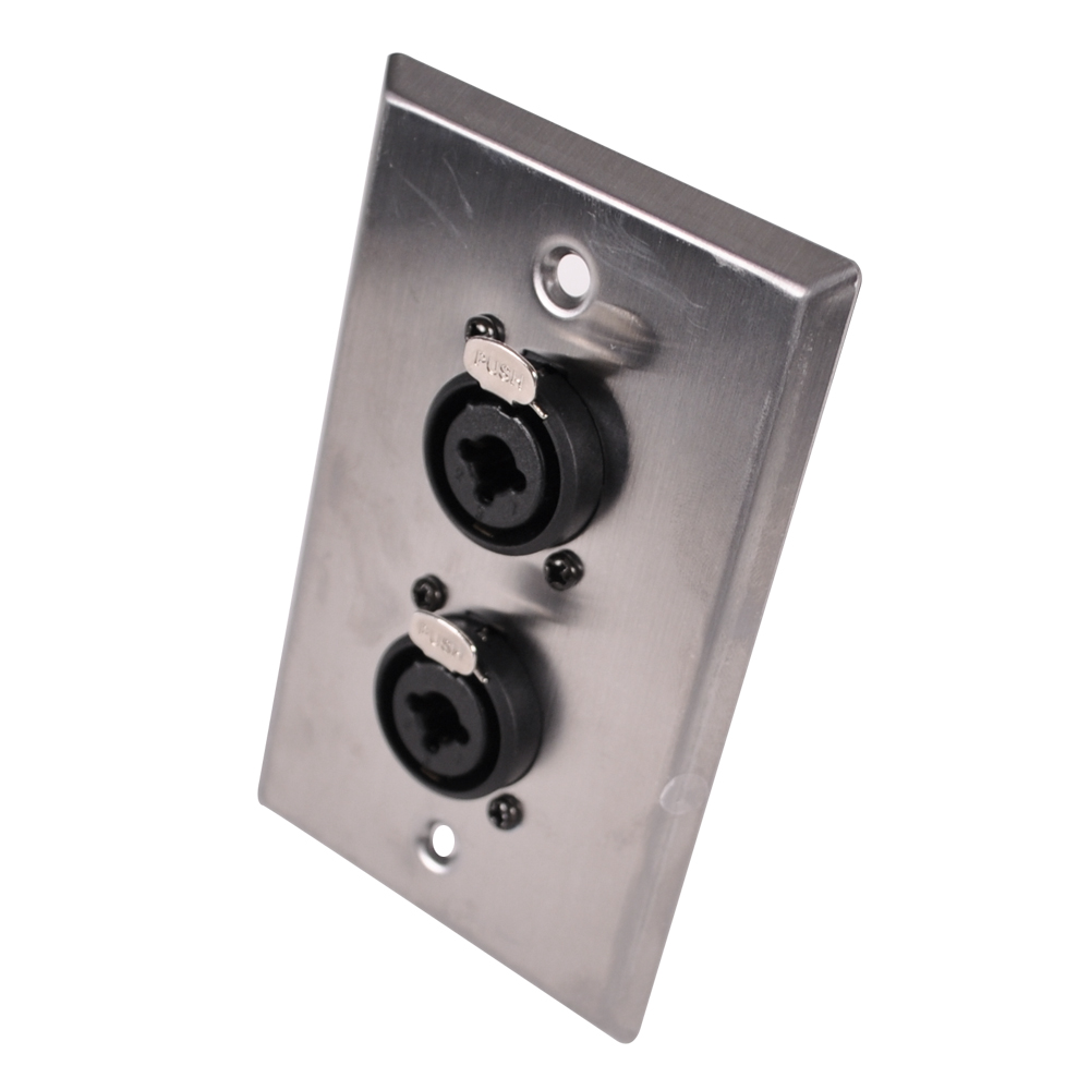 stainless steel wall plate dual 1 4 inch and xlr combo jacks ebay. Black Bedroom Furniture Sets. Home Design Ideas