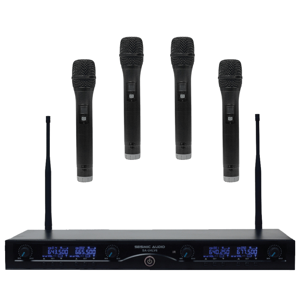 4 channel uhf wireless microphone system with 4 handheld wireless microphones ebay. Black Bedroom Furniture Sets. Home Design Ideas