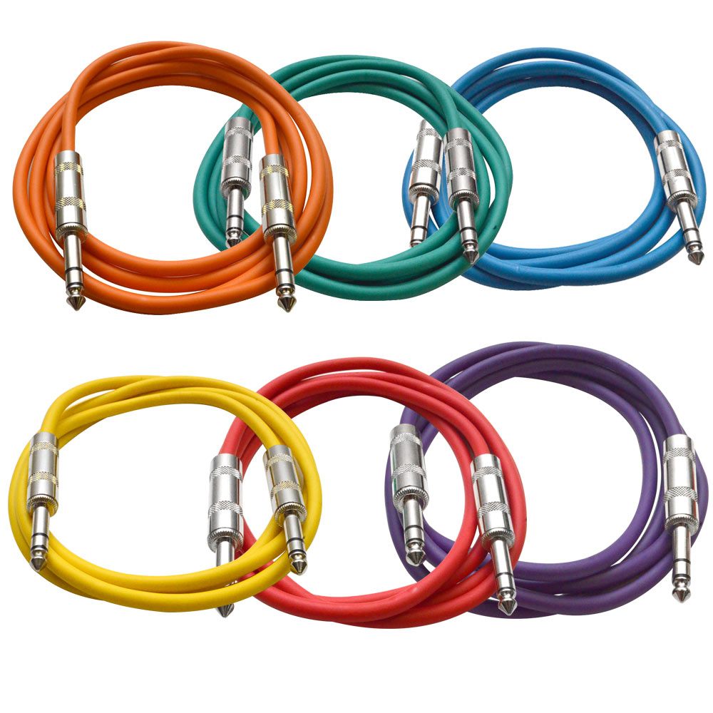 seismic audio 6 pack colored 1 4 trs 6 39 patch cables ebay. Black Bedroom Furniture Sets. Home Design Ideas
