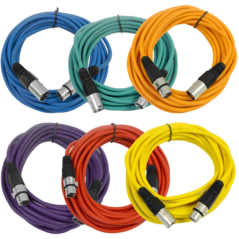 Seismic Audio 6 Pack 25 Xlr Microphone Cables Color Ebay