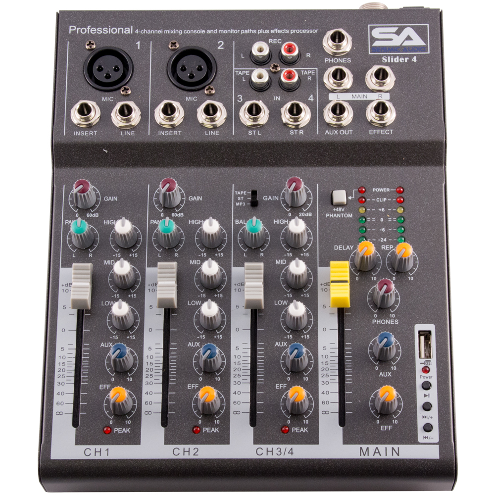 seismic audio slider 4 4 channel mixer console with usb interface new ebay. Black Bedroom Furniture Sets. Home Design Ideas