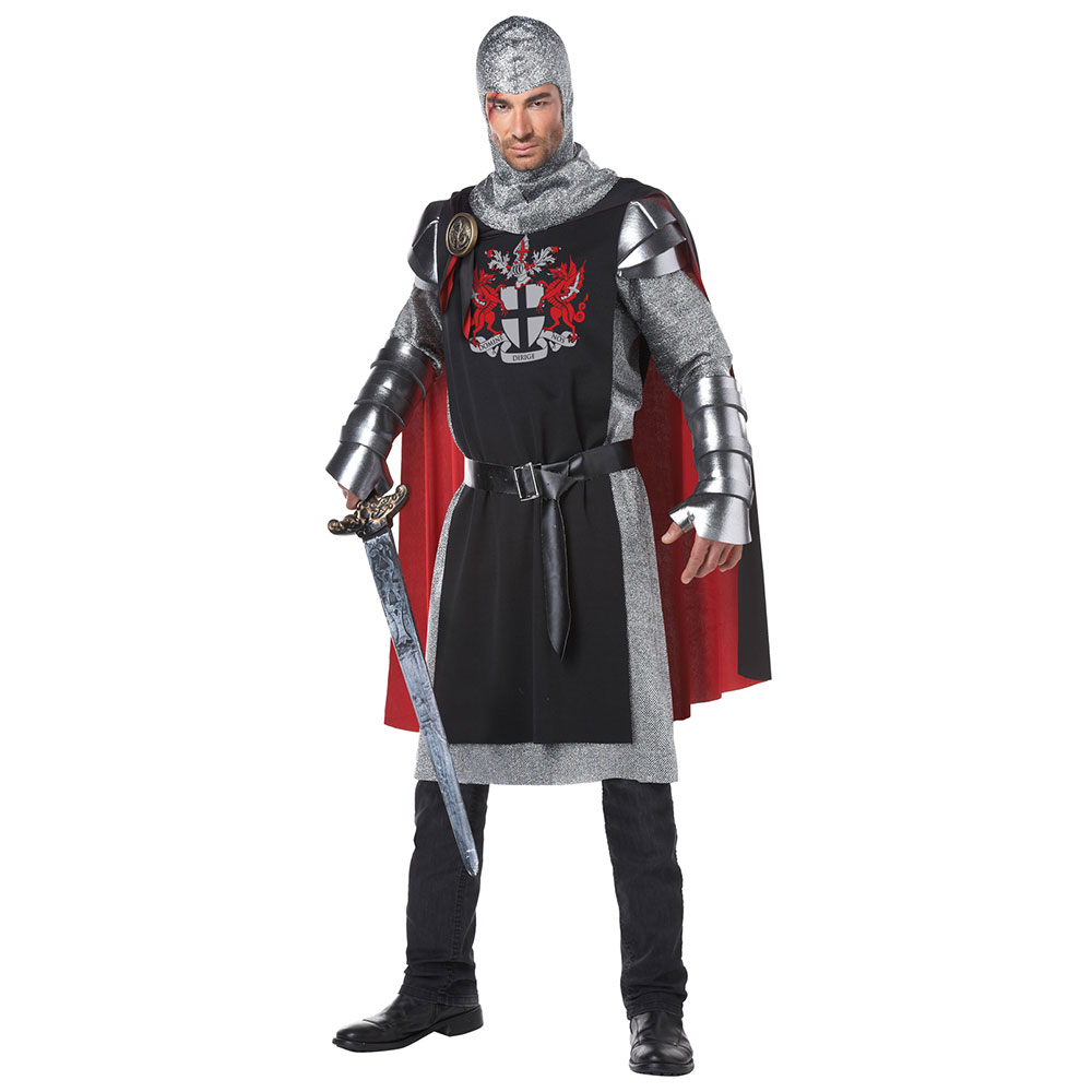 Halloween Costume 370.Details About Mens Medieval Knight Halloween Costume Black Red
