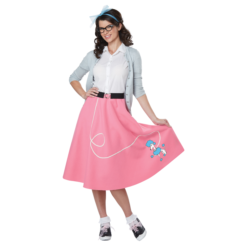 742d6c4b0b3b Details about Womens Pink 50's Poodle Skirt Costume