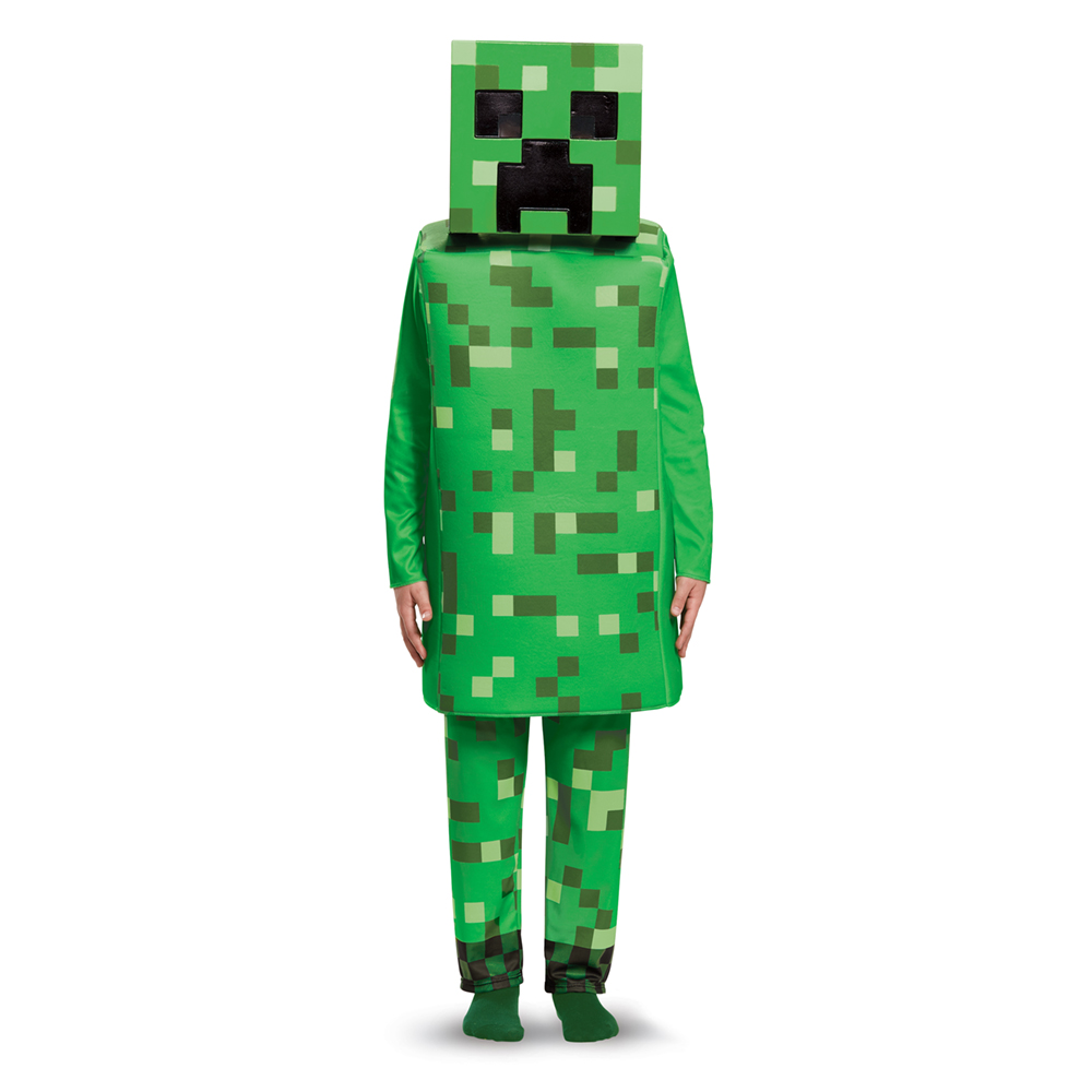 kids minecraft creeper deluxe halloween costume | ebay
