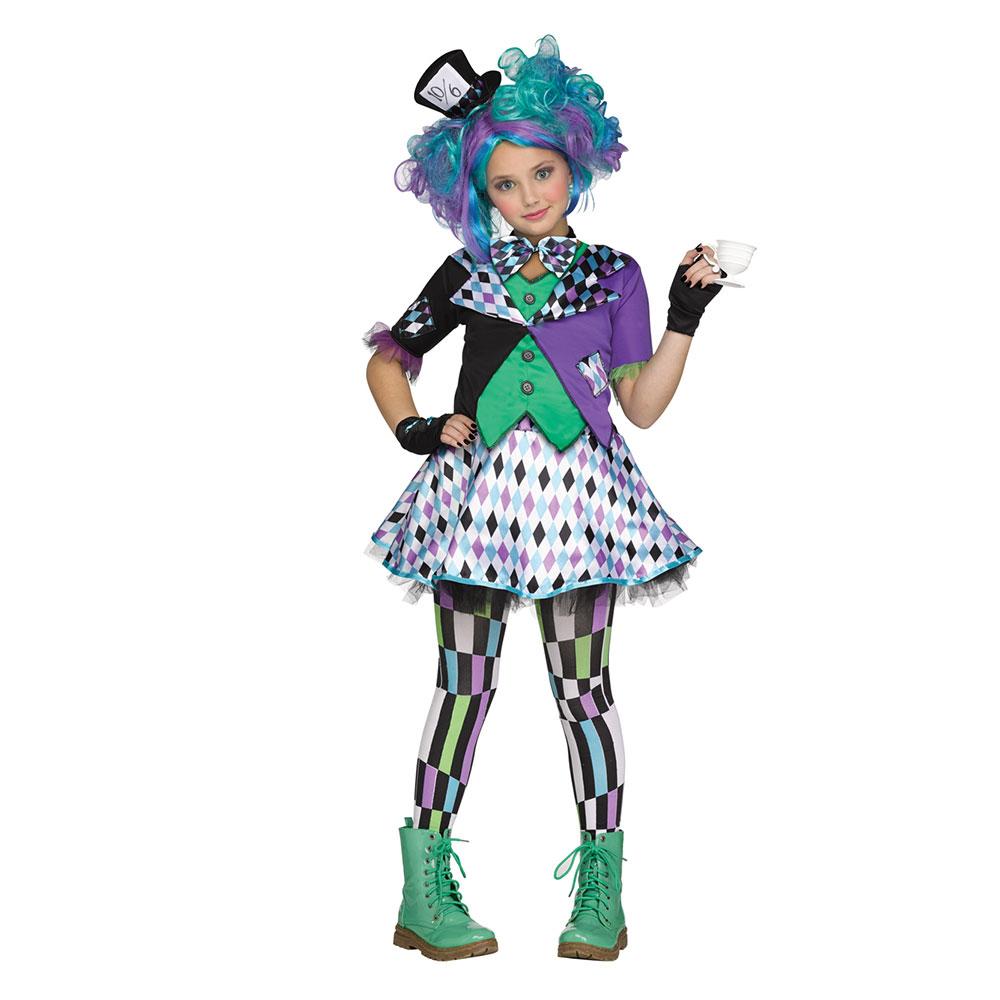 girls mad hatter purple teen halloween costume | ebay