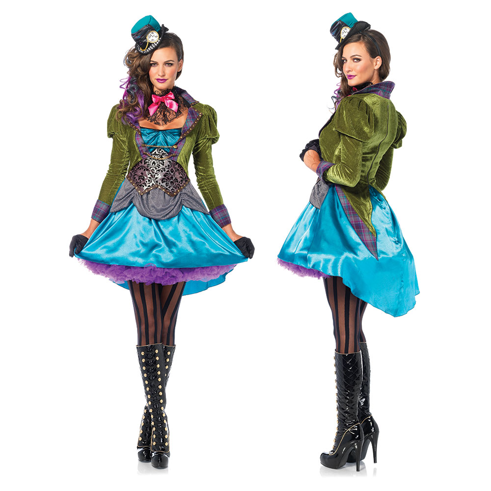 Womens Sexy Deluxe Mad Hatter Halloween Costume  sc 1 st  eBay & Womens Sexy Deluxe Mad Hatter Halloween Costume | eBay