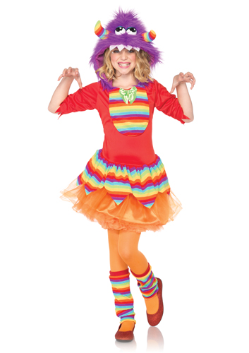 girls fuzzy rainbow monster halloween kids costume