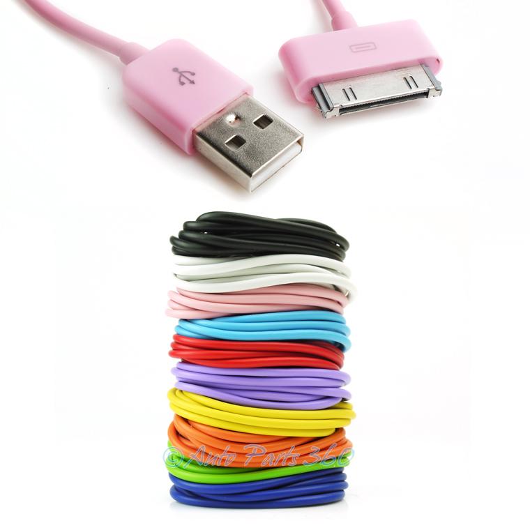 5X 3FT USB SYNC DATA POWER CHARGER AQUA BLUE CABLE IPHONE IPOD CLASSIC NANO IPAD