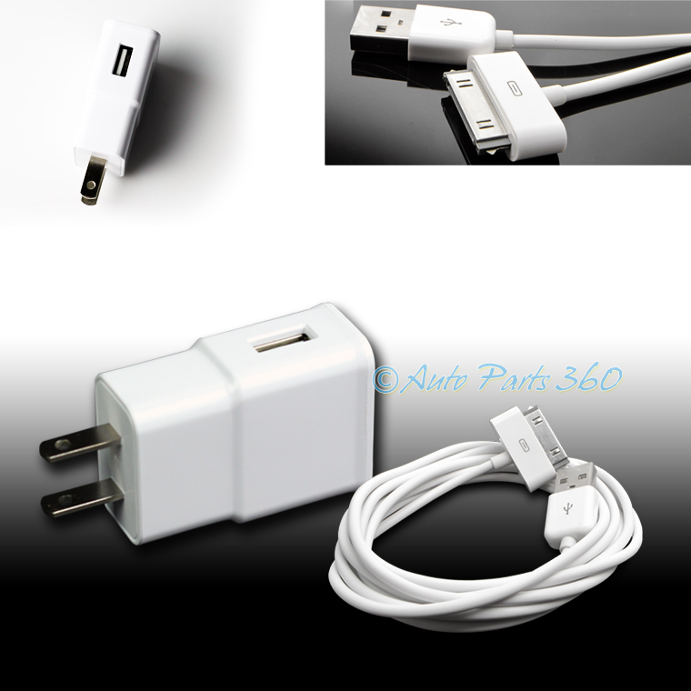 3X 4 USB PORT WALL ADAPTER+6FT CABLE POWER CHARGER BLACK FOR IPHONE 4S IPOD IPAD