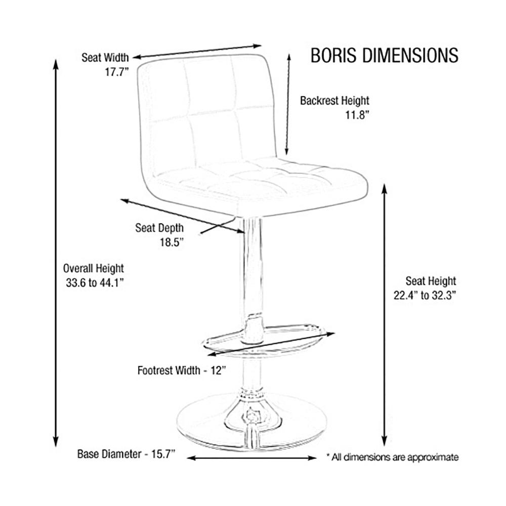 Brown Vandue BORIS-BROWN Modernhome Boris Contemporary Leather Adjustable Barstool
