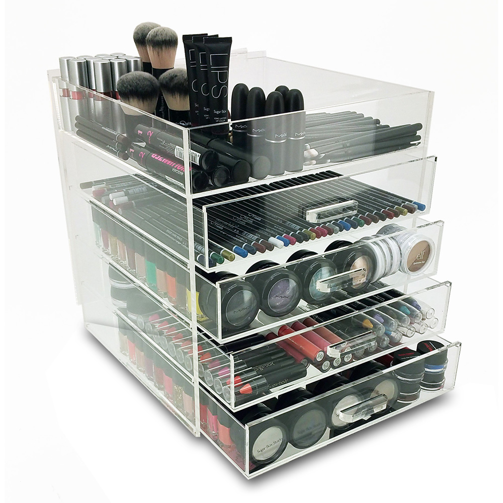 new deluxe makeup organizer acrylic 5 tier drawer. Black Bedroom Furniture Sets. Home Design Ideas