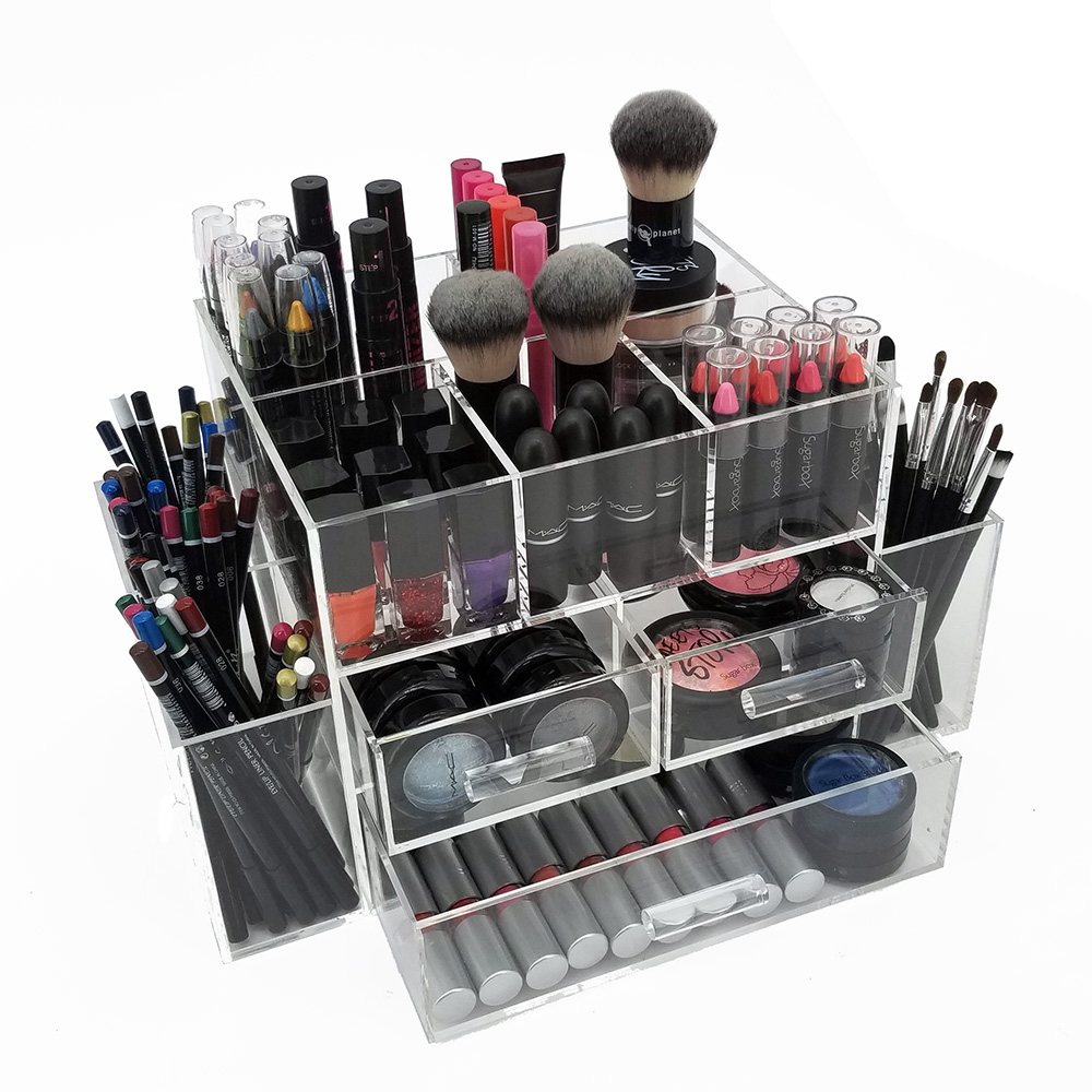 new deluxe makeup organizer acrylic tiered 3 drawer. Black Bedroom Furniture Sets. Home Design Ideas
