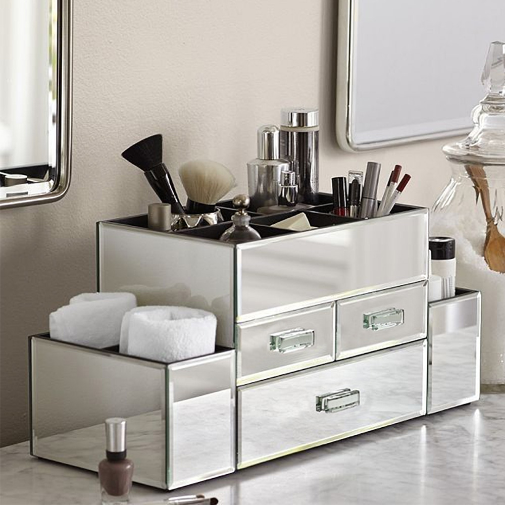 new deluxe makeup organizer silver mirror tiered 3 drawer cosmetic display ebay. Black Bedroom Furniture Sets. Home Design Ideas