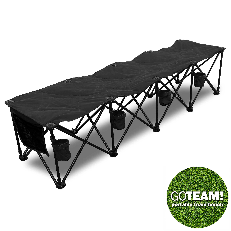 Premium Black Pro 4 SEAT Portable Folding Team Bench Camping Beach ...