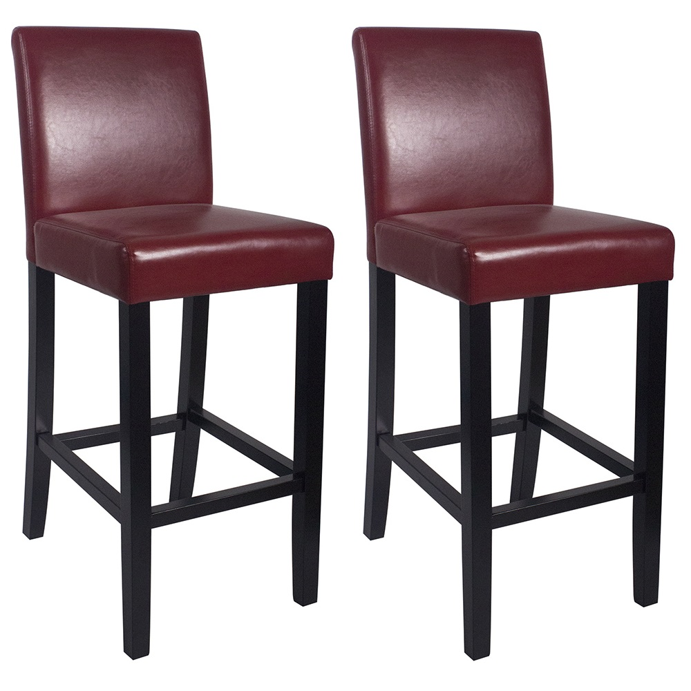 Cool Details About New Wood Leather Barstool 29 Bar Counter Stool Kendall Set Of 2 Red Evergreenethics Interior Chair Design Evergreenethicsorg