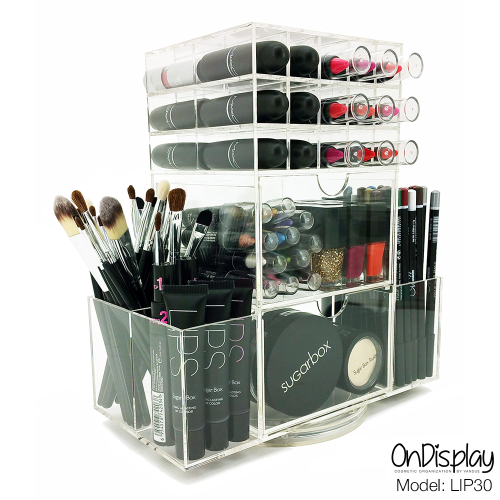 5698db54865a Details about NEW! DELUXE MAKEUP ORGANIZER - ACRYLIC ROTATING COSMETIC  STORAGE DISPLAY CASE 30