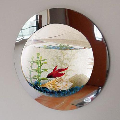 Fish Tank Wall Mounted Reflection Mirrored Fish Bubble