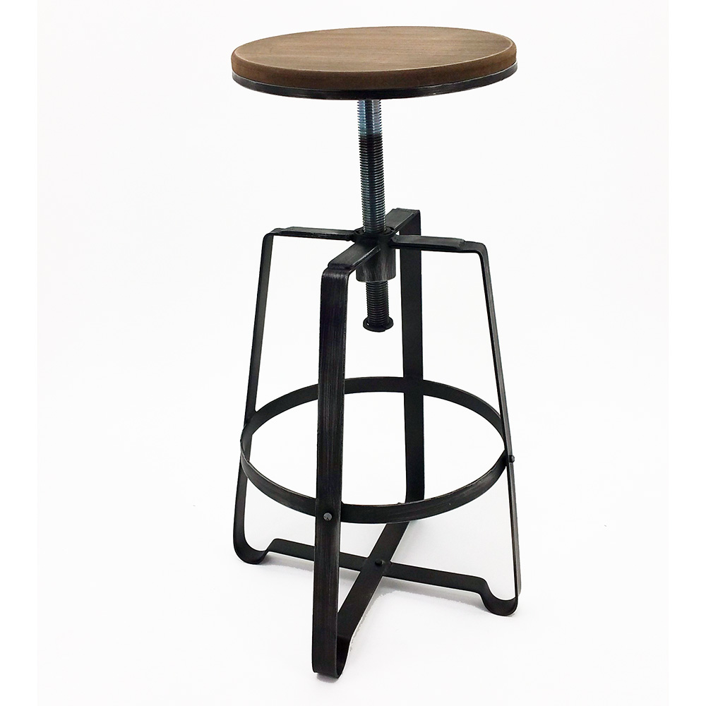 Set Of 2 Modern Retro Steel Barstool Adjustable Rustic